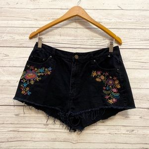 BDG | black high rise free cheeky floral shorts